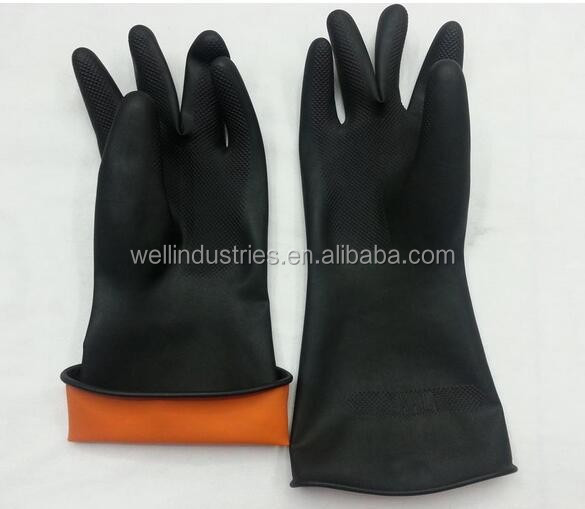 Industrial rubber latex gloves black industrial gloves