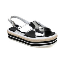 2017 Wome Sandals Platform Espadrilles mirror leather sandal for woman Summer shoes sandal for reseller
