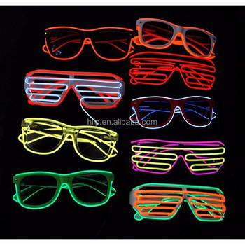Colorful LED Neon Glowing Light EL Wire Party Glow Up Glasses for Christmas Gift Items