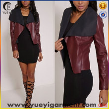 clothing factories in china faux leather waterfall jacket