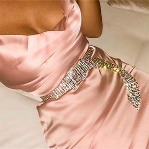 Decoration metal belt clip diamond inlaid waist chain nightclub performance women metal belt