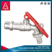 TMOK RED HANDLE BRASS BALL VALVE TYPE BIB COCK FAUCET TAP LOCKABLE