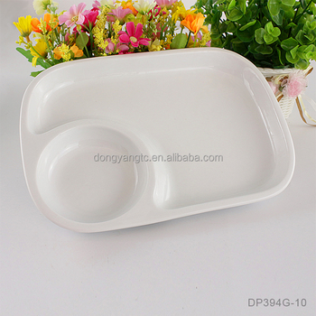 "10"" inch bento trays ceramic white two compartment divided restaurant fast food square plate indentation for soup bowl mess tray"