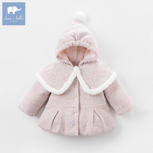 Dave Bella winter baby girl wool Jackets toddler girls Hooded outerwear children hight quality coat DB5487