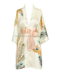 Old Shanghai Women's Print Kimono Short Satin Robe--Peacock Feather- White