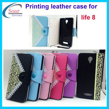 Newest PU leather flower printing wallet fold mobile phone case with card holder for Blu life 8