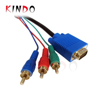 KINDO VGA to 3RCA high speed DB 15-Pin Video Cable RGB Computer to TV Cable support 1080P