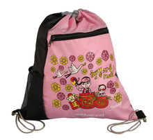 Customized cute 210D Polyester drawstring sports bag with front zippered pocket and mesh pocket for kids