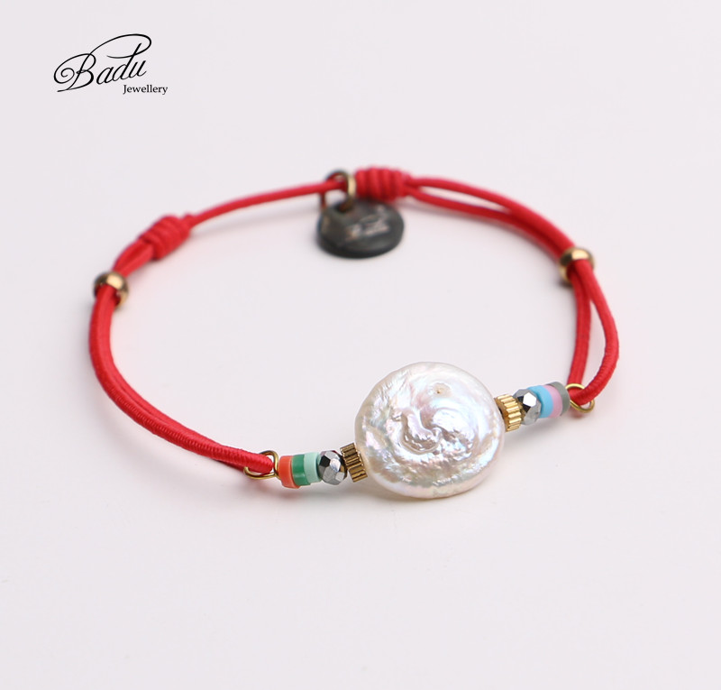 best selling products simple red elastic rope freshwater pearl yoga bracelet jewelry