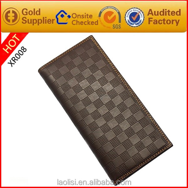 Italian design customized brand mens money clip leather cowhide long wallets purse