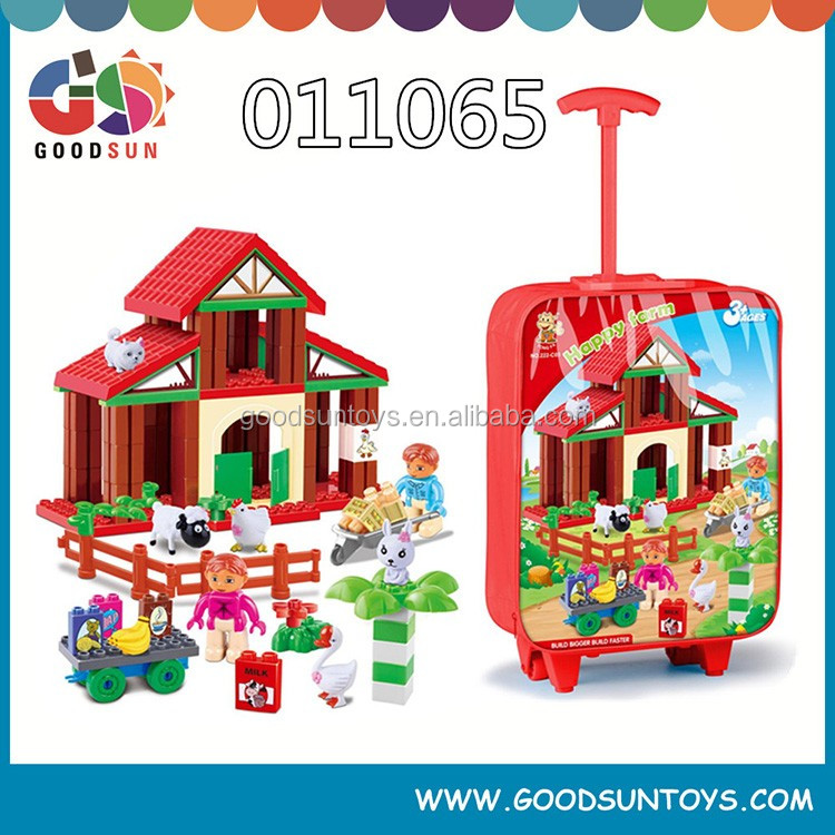 animals plastic toy building blocks zoo with suitcase/ trolley case