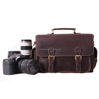 6919 Vintage Genuine Leather Waterproof DSLR Camera Bag Leather DSLR Camera Case for Nikon Sony with Padded Insert Camera Bag
