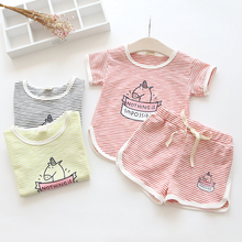 2017 Summer pure cotton Korean style the children suit fashion boy college two suit children sets Children baby Clothing