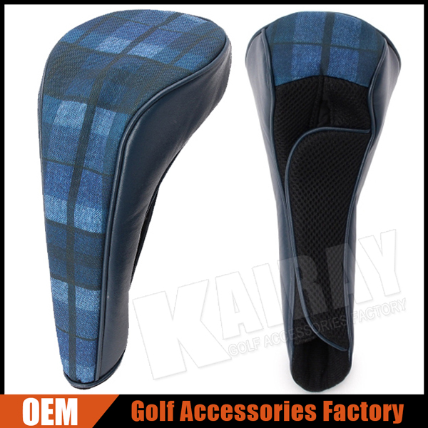 Customize Luxury Golf Club Head Covers, Blue cloth & Leather