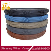 14 inches handmade embroidery sheepskin leather steering wheel cover