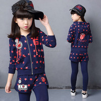 Top quality Korean style kids girl blue Pullove Hoodies