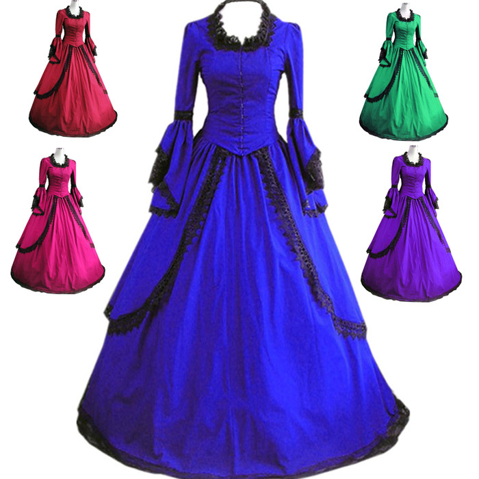 Get Quotations · Free Shipping Tomsuit Elegant Blue Long Sleeves Gothic  Victorian Lolita Dress Medieval Southern Belle Ball Gown 186a9c98bf68
