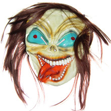 Factory supply vinyl polyester halloween blue eyes funny face long hair ghost clown mask