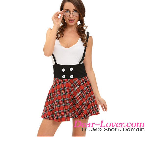 2016 Latest Design Two Piece Suspending Skirt Dress Teasing Sexy School Girl Costume