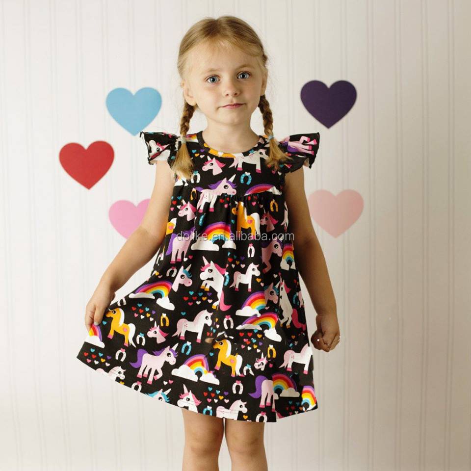 Newest girls unicorn pearls dress printed baby flutter sleeve dress wholesale kids girls smoking dresses
