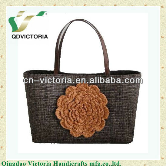 PP Cloth Ladiy's Bag With Crouchet Flower