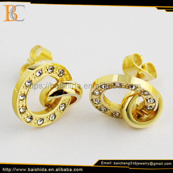 Baicheng fashion jewelry material stainless steel ladies stud earrings designs for party