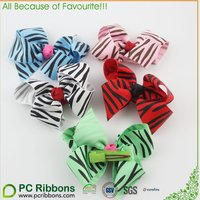 2016 Zebra print bright color hair bow with clips