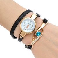 leather bracelet wrist watch women pendant retro style wrist watch