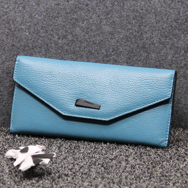 Full grain genuine leather women large capacity clip closure ladies money purses wallet