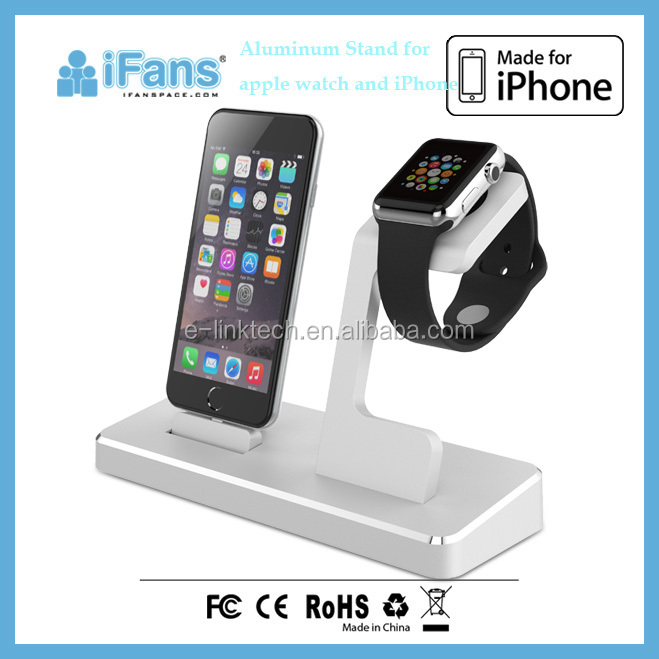 2016 Premium Hot Selling 3 in 1 Aluminum Display Mobile Stand/Charging Station for Apple Watch and iPhone Silver