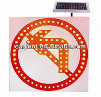 Solar safety signs with No turning left symbols