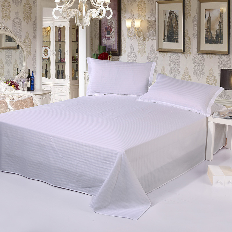 Hospital/Hotel Use Cotton Bed Sheet White Satin Stripe Flat Sheet Set