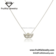 fashion simple designs 2017 cz brass wedding bridal girls mask pendant necklace