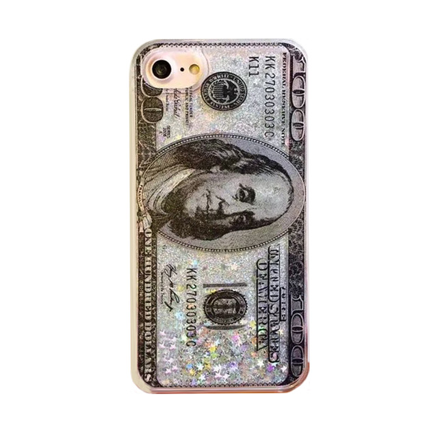 2017 Luxury flare star love sequins glitter liquid quicksand president simulation cash money dollar tpu clear pc case For Iphone