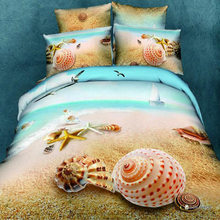 Hot sale Seaside scenery and shells comforter bedding sets low price