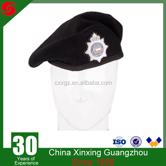 Army style best quality custom black wool military beret