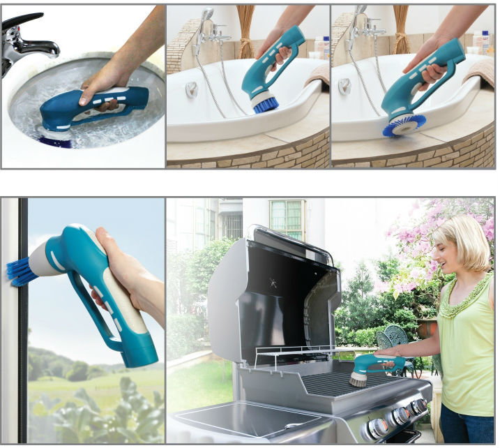Portable rotating scrubber / Handheld cleaning brush / Plastic cleaning brush