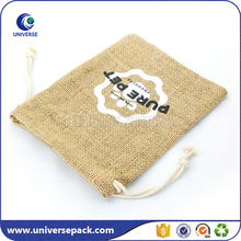 Custom size screen printed burlap bag with cotton drawstring wholesale