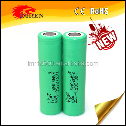 Green Authentic samsung 18650 3.7v 2500mah battery original samsung rechargeable battery samsung 25r inr 18650 25r
