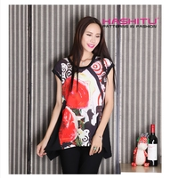 digital printed elegant ladies loose fit plus size t shirt casual tops blouses for women curve bottom