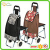 Folding shopping trolley shopping trolley with chair and hot cooler bag