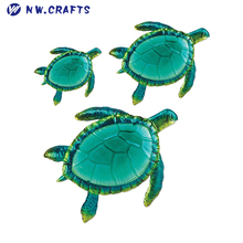 Polyresin Coastal Ocean Sea Turtles Figurine Wall Art Mount Decor Set 3 Pcs Wholesale