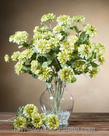 Zinnia Spray Silk Flower Stem artificial babys breath flower
