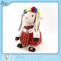 Russian songs stuffed toys lovely dancing and singing sheep wears flower crown customized stuffed puppet