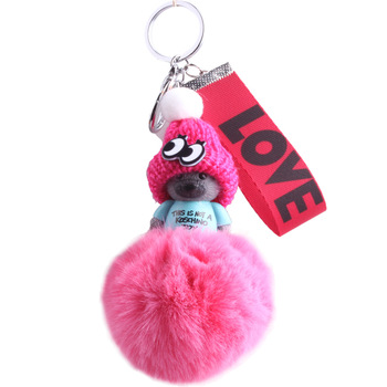 PO000212 WT Yiwu 2018 New Fox Fur Ball/Pompoms With Toy Head Key Chain For Womens Bag