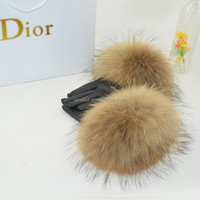 2017 New Product Real Leather Glove With Genuine Raccoon Fur Cuff Leather Glove