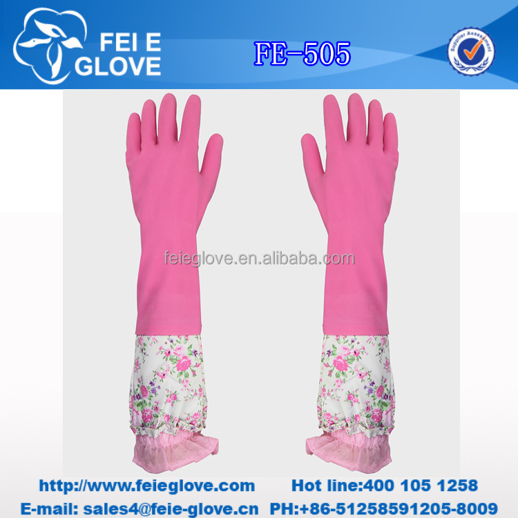 fashion long hand oil resistant lady household latex gloves