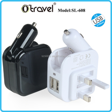 us plug car and home charger led flash light multi use dual usb car charger