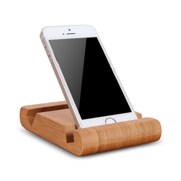 Wooden phone stand holder, cell phone bamboo support docking double slot