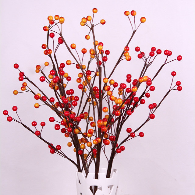 Artificial Berry Spray in Red ,Orange Floral Stems For Flower Arrangement Christmas